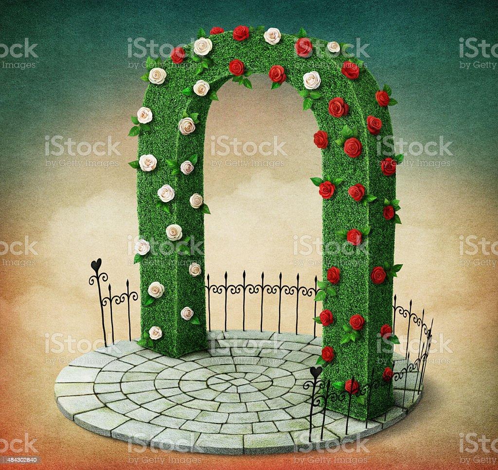 Green arch vector art illustration