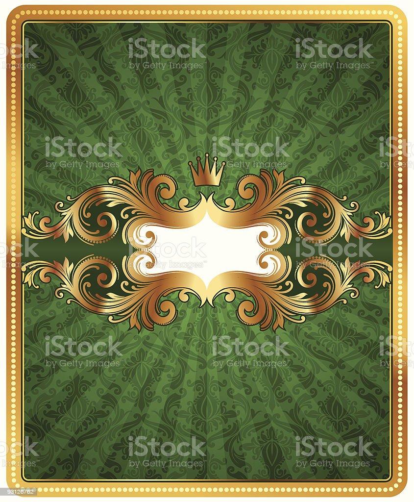 Sfondo Verde Con Pattern Damascato E Telaio Ornato Doro Immagini