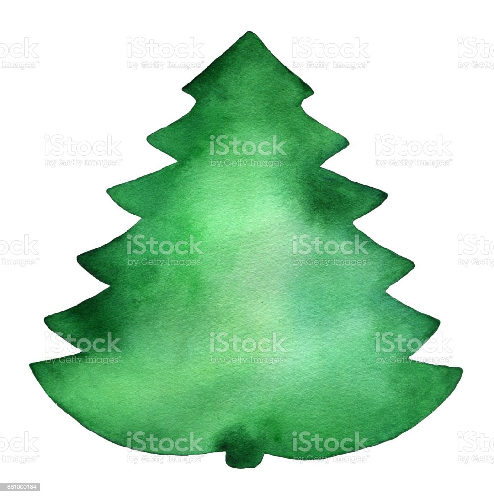 green big watercolor christmas tree silhouette template texture card