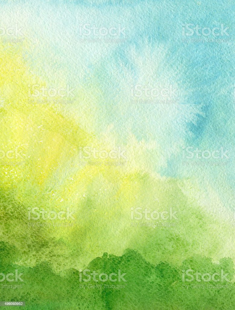 Green blue yellow watercolor background vector art illustration