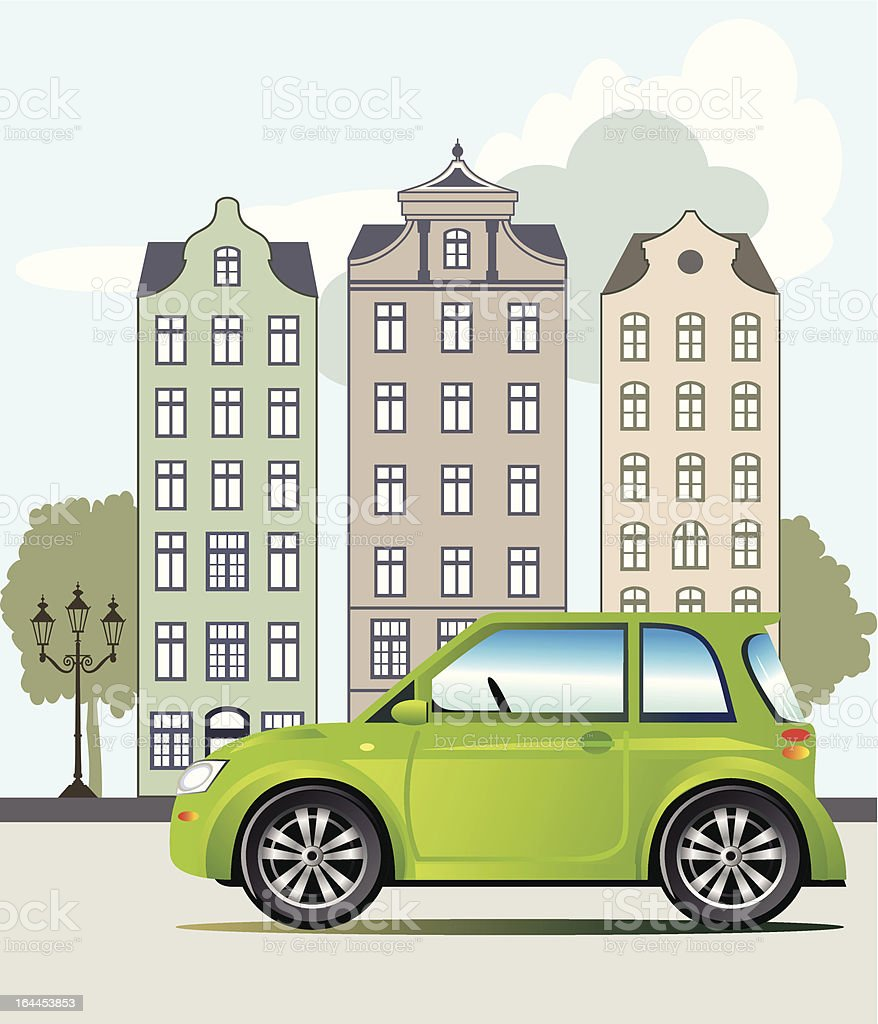 Green car in the city royalty-free stock vector art