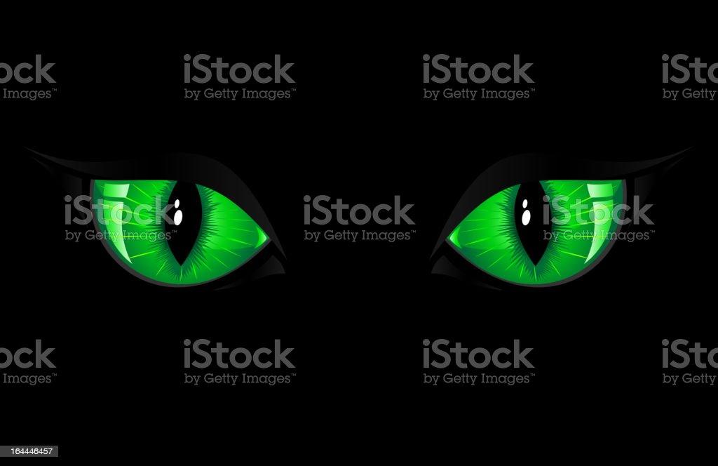 Green Cat Eyes vector art illustration