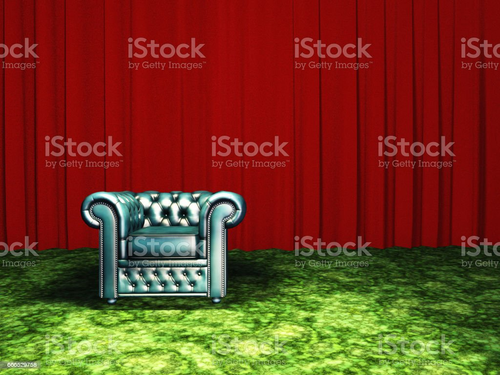 Green Chair with red curtain vector art illustration