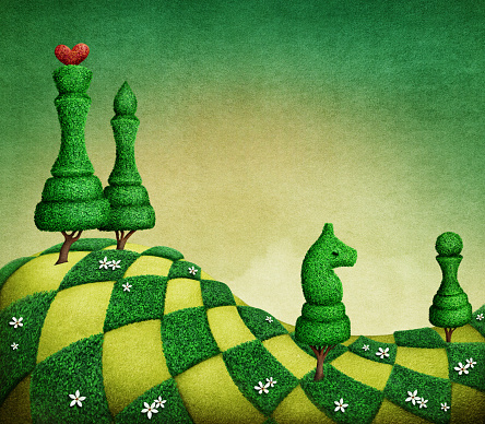 Green chess pieces