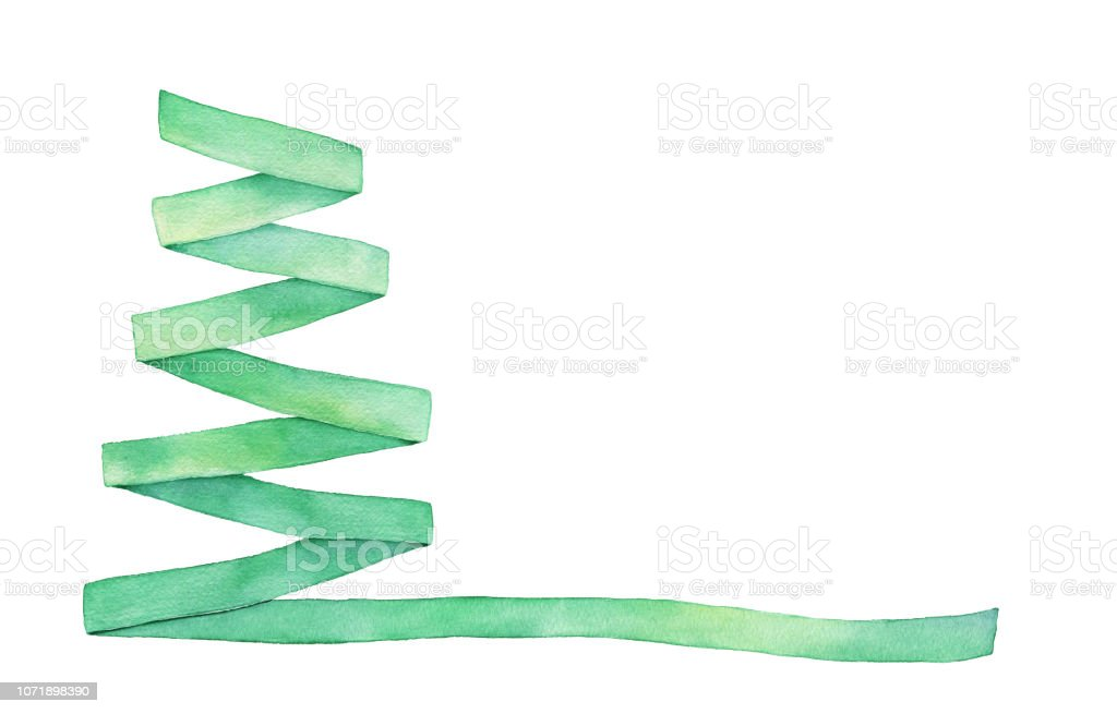 Green Colored Ribbon Shaped As Triangle Fir Tree With Long End