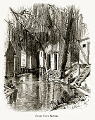 Green Cove Springs, St. Johns River, Florida, United States, American Victorian Engraving, 1872
