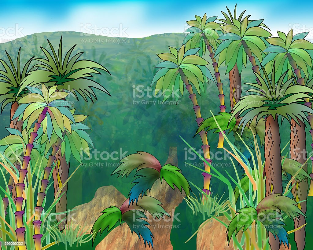 Green Crowns of Palm Trees on a Background of Mountains royalty-free green crowns of palm trees on a background of mountains stock vector art & more images of arranging