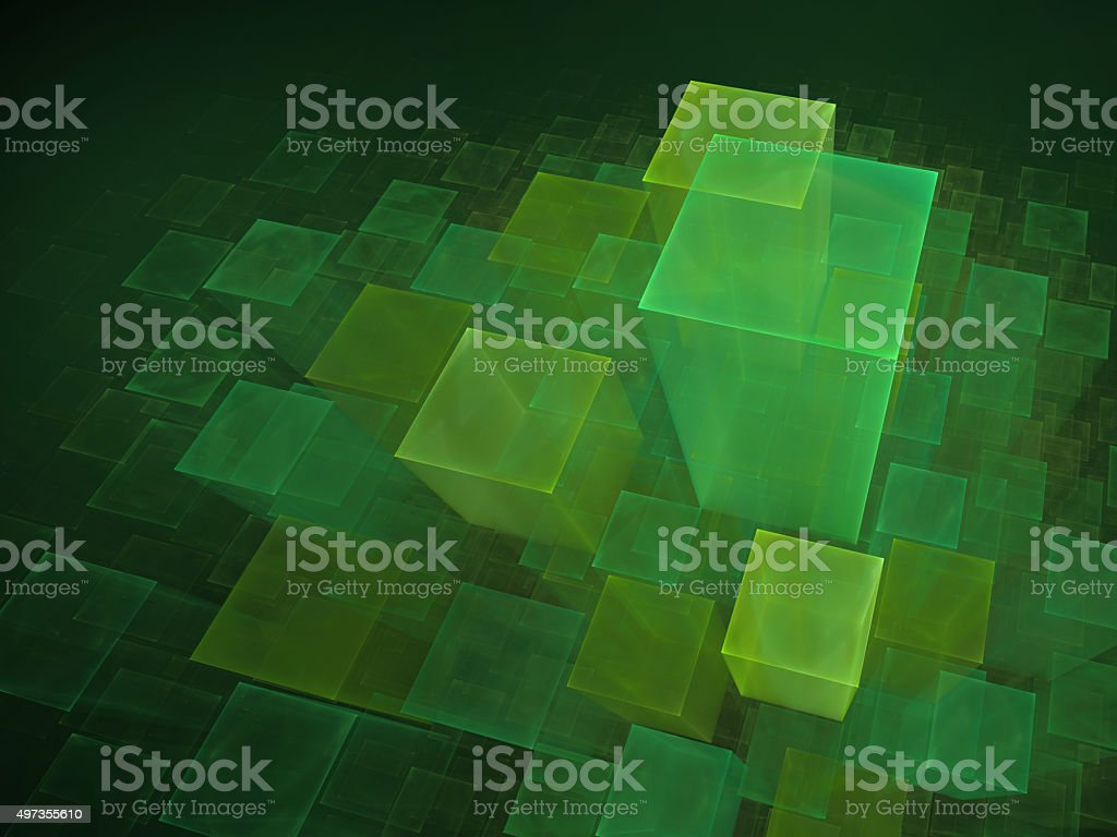 Green cubic background vector art illustration
