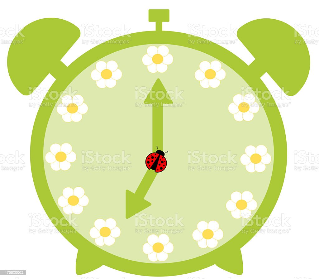 Green Cute Alarm Clock With Daisy Flower Cartoon Illustration Stock