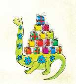 A green dinosaur with floral ornament carries a bunch of colorful boxes of gifts