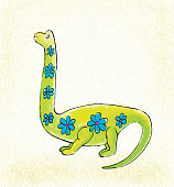 Green dinosaur with floral ornament