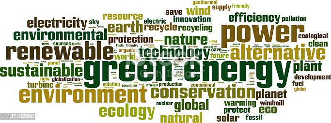 Green energy word cloud concept. Collage made of words about green energy. Illustration