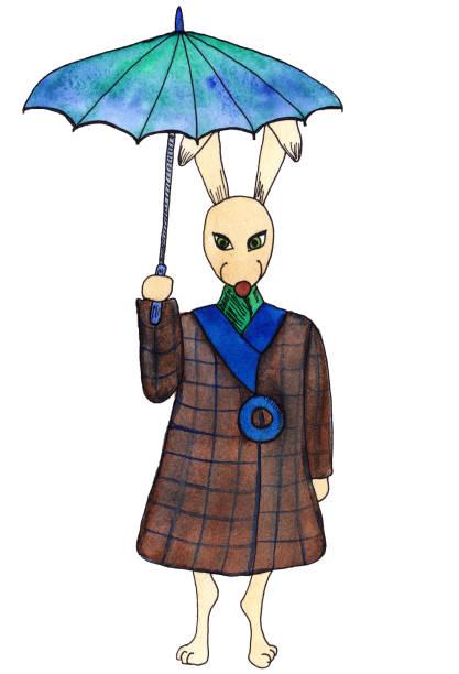 illustrazioni stock, clip art, cartoni animati e icone di tendenza di coniglietto dagli occhi verdi con ombrello turchese, che indossa il classico cappotto marrone plaid e blu per l'abbigliamento primaverile e autunnale. - mockup outdoor rain