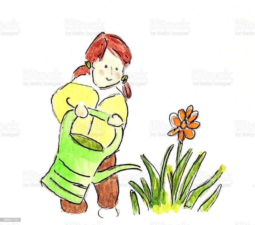 Gruner Daumen Kleines Madchen Blumen Giessen Stock Vektor Art Und
