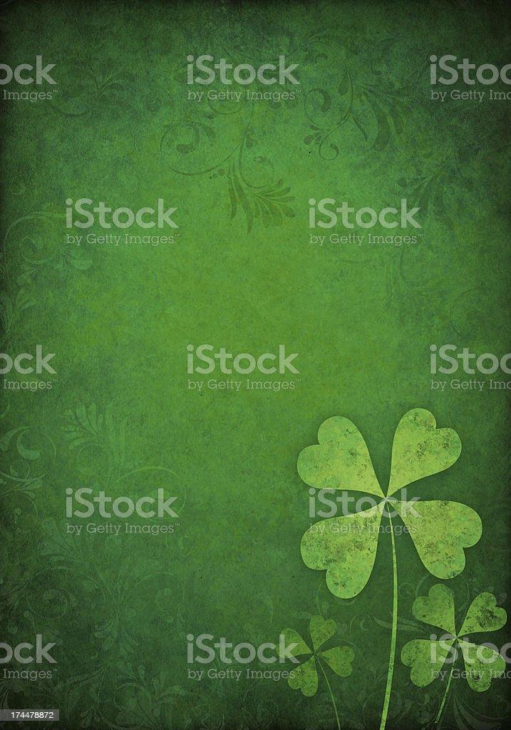 green floral background with shamrocks vector art illustration