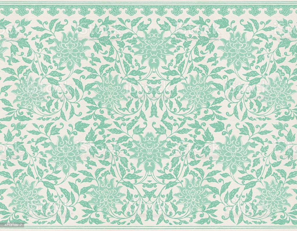 Green Floral Wallpaper royalty-free stock vector art