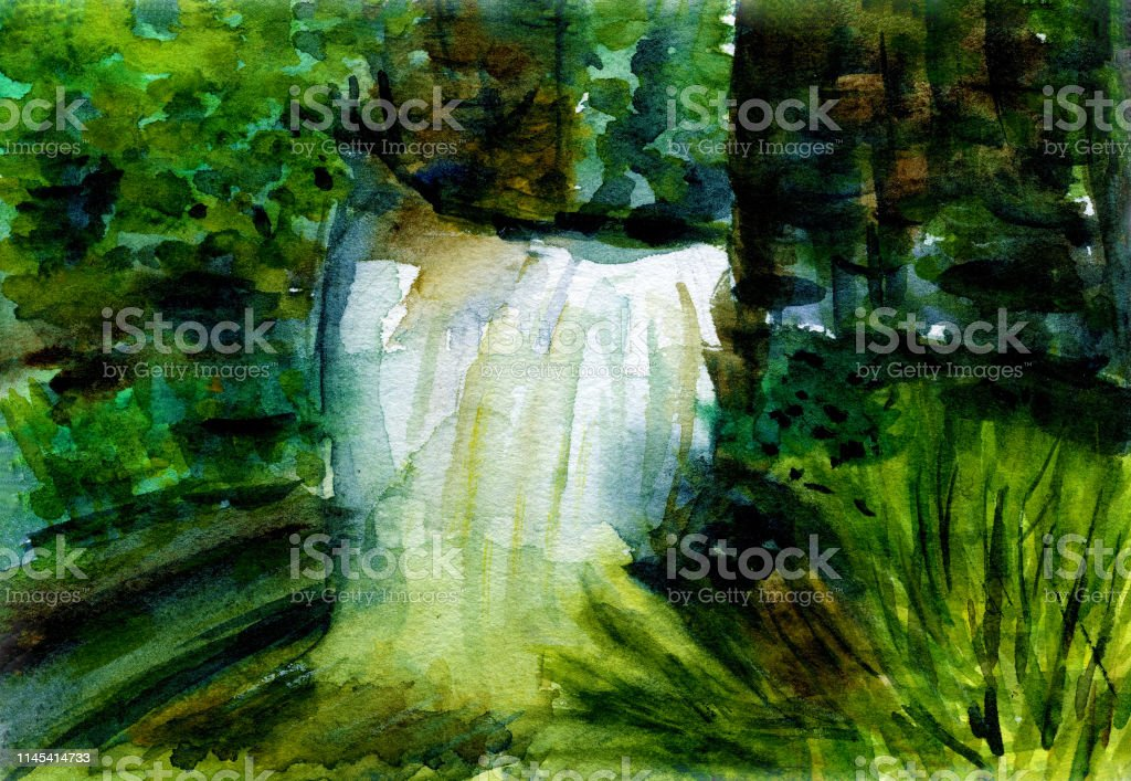 green forest waterfall landscape watercolor illustration