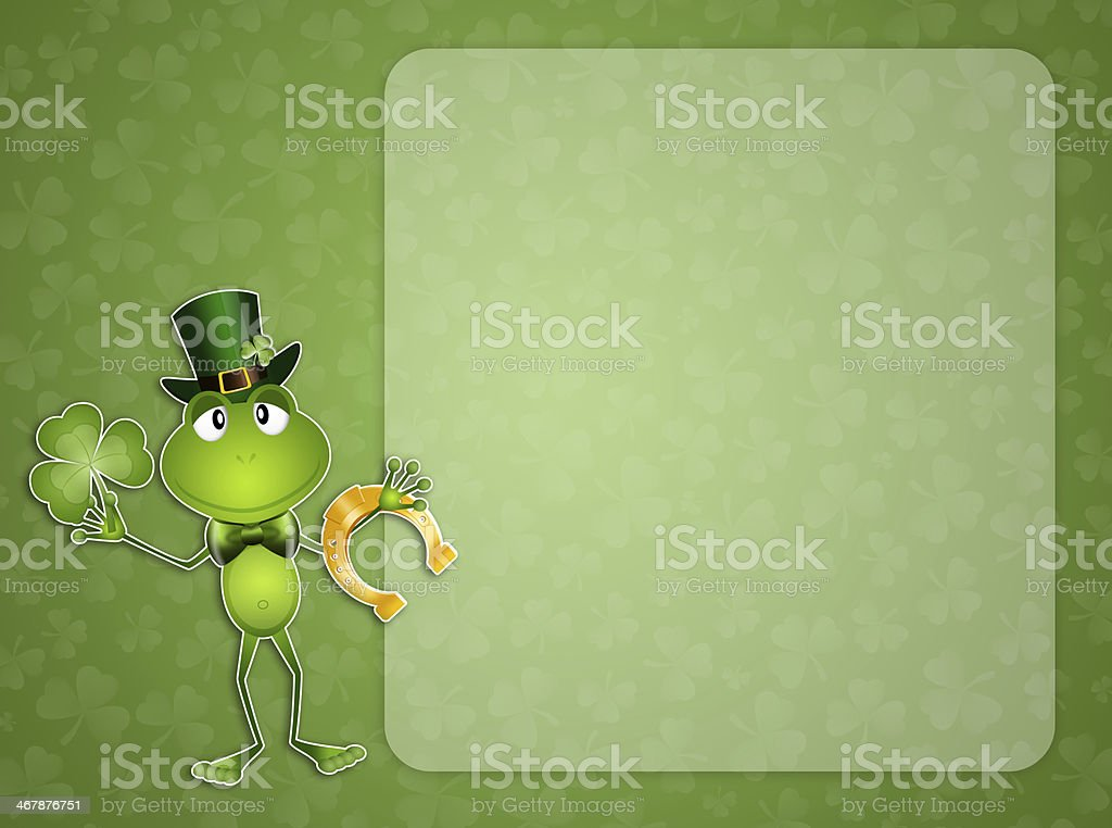 Green frog in St.Patrick's Day royalty-free stock vector art