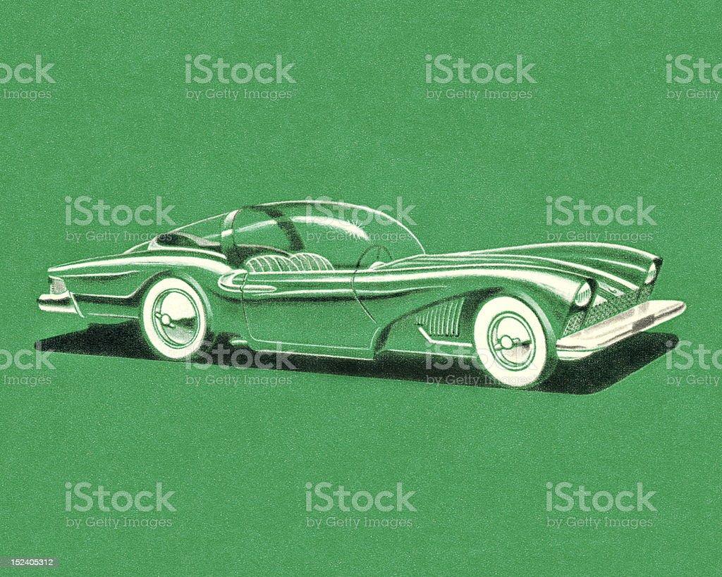 Green Futuristic Car royalty-free stock vector art