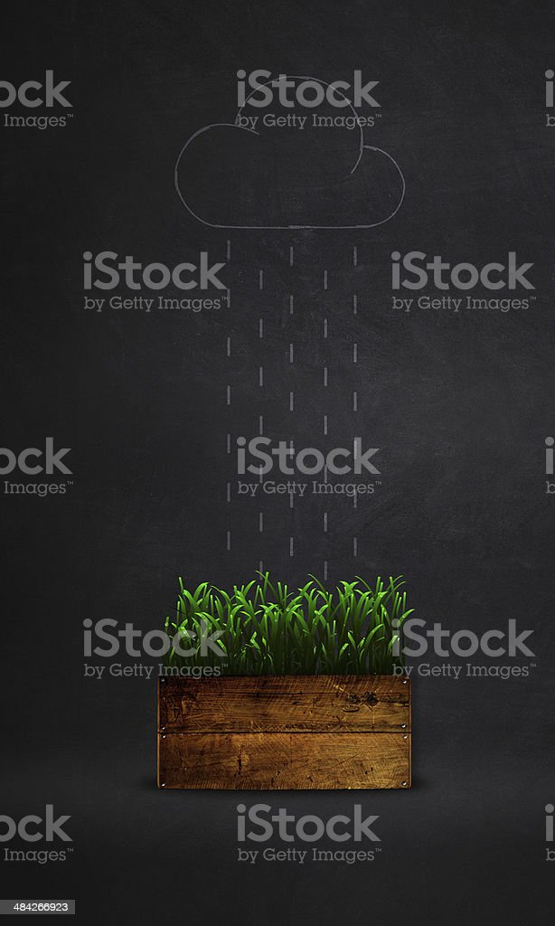 green grass in a box and rain  background vector art illustration