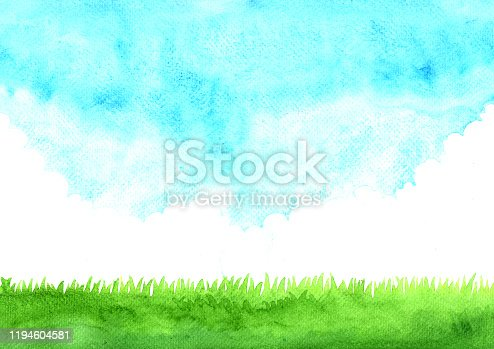 istock Green grass meadow with cloud sky watercolor hand painting background. 1194604581