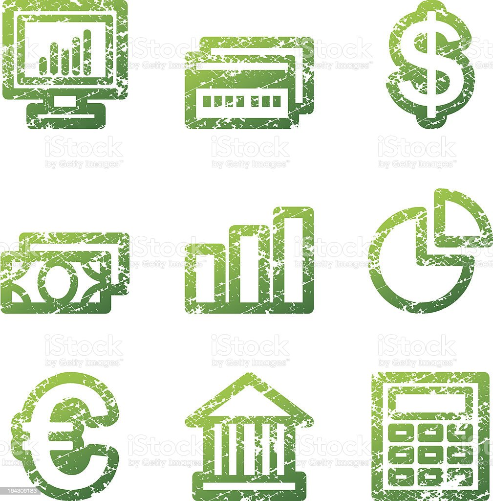Green grunge finance contour icons V2 royalty-free green grunge finance contour icons v2 stock vector art & more images of banking
