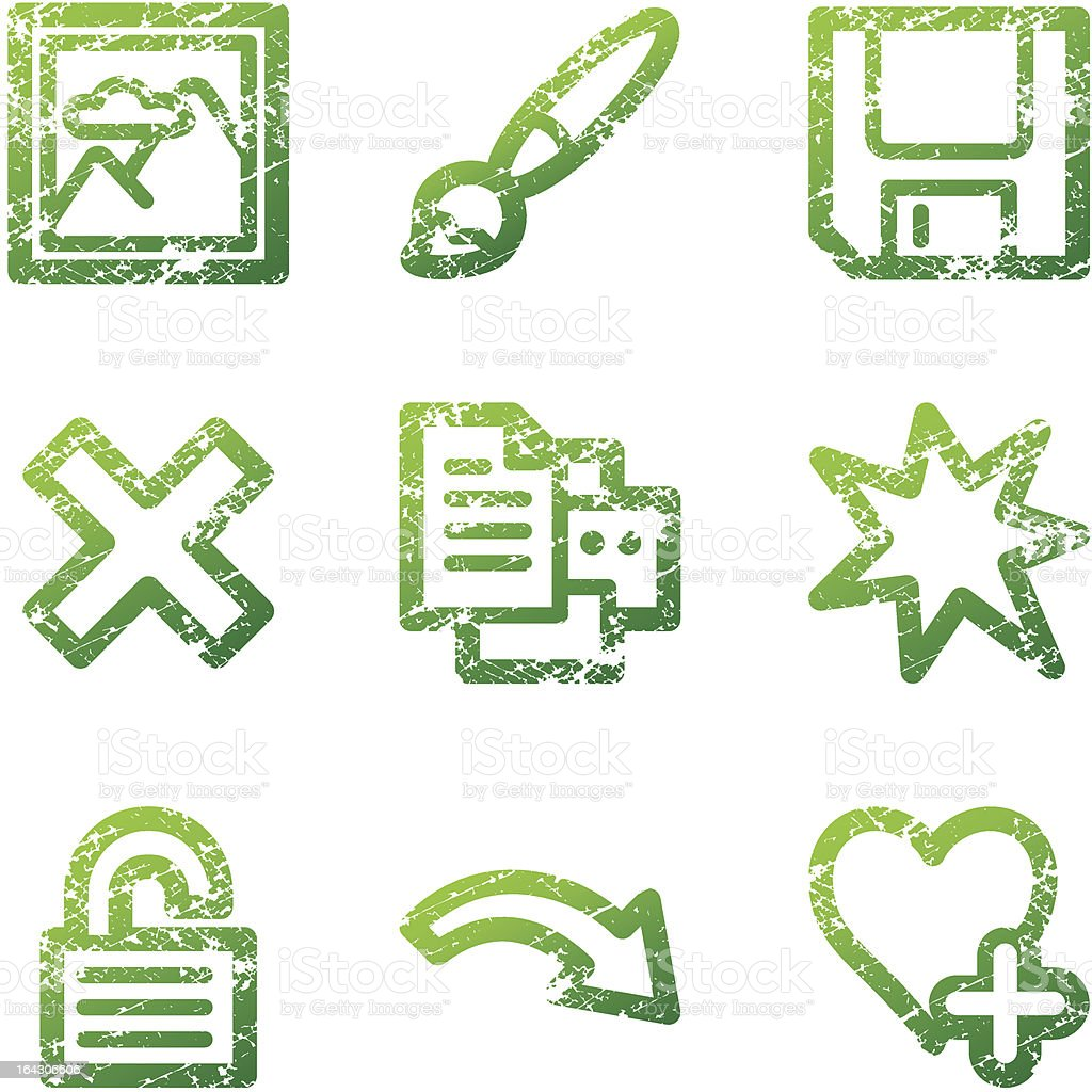 Green grunge image viewer 2 contour icons V2 royalty-free stock vector art