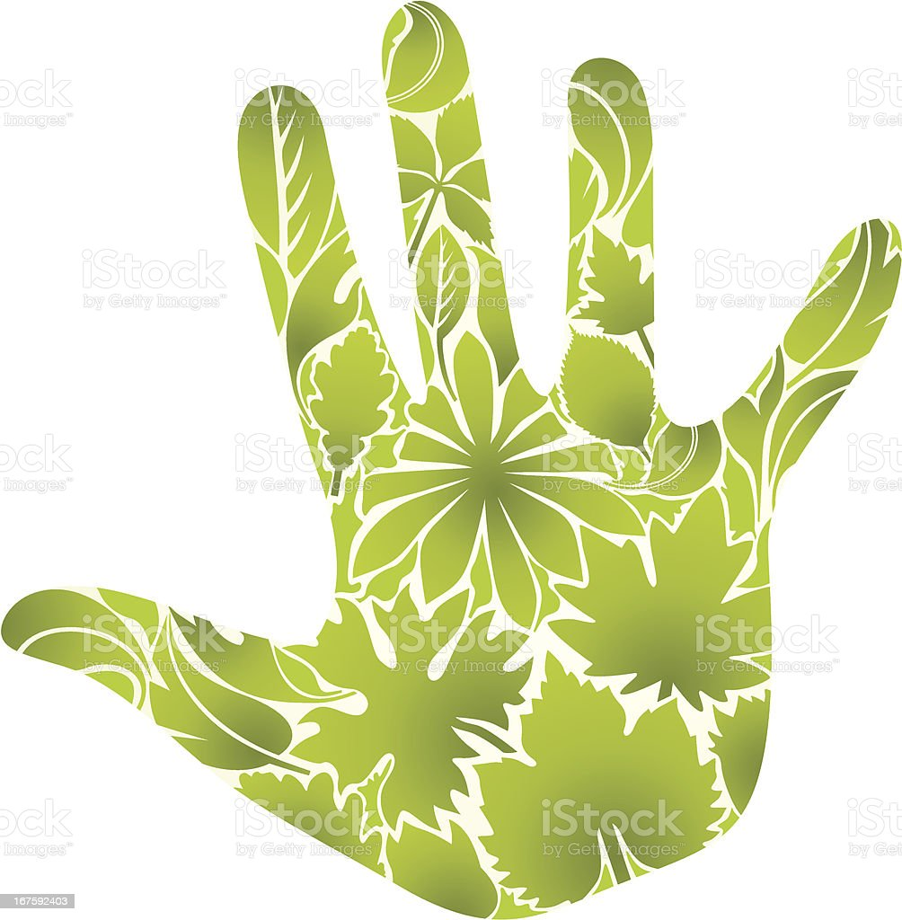 Green hand vector art illustration