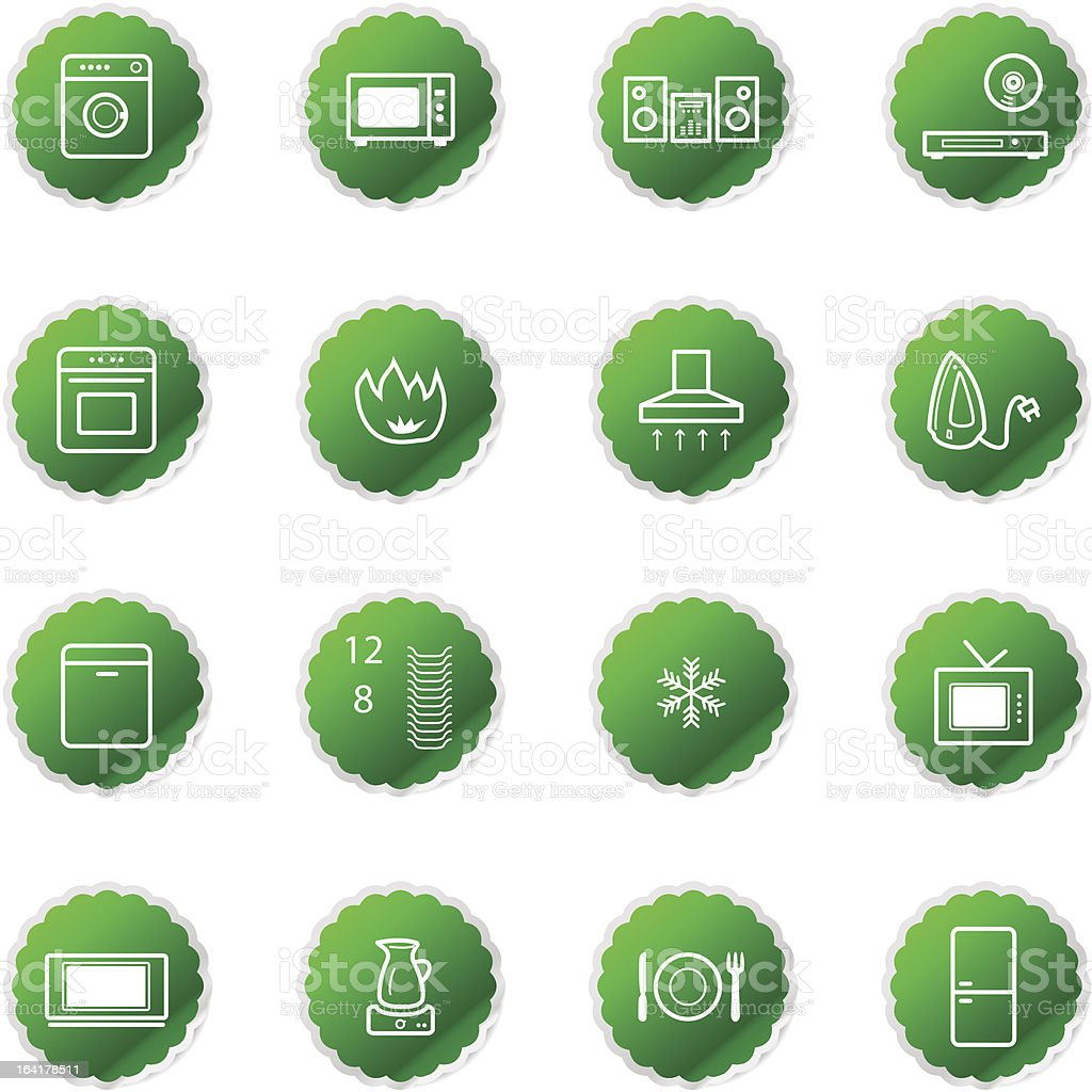 green household appliances icons royalty-free stock vector art