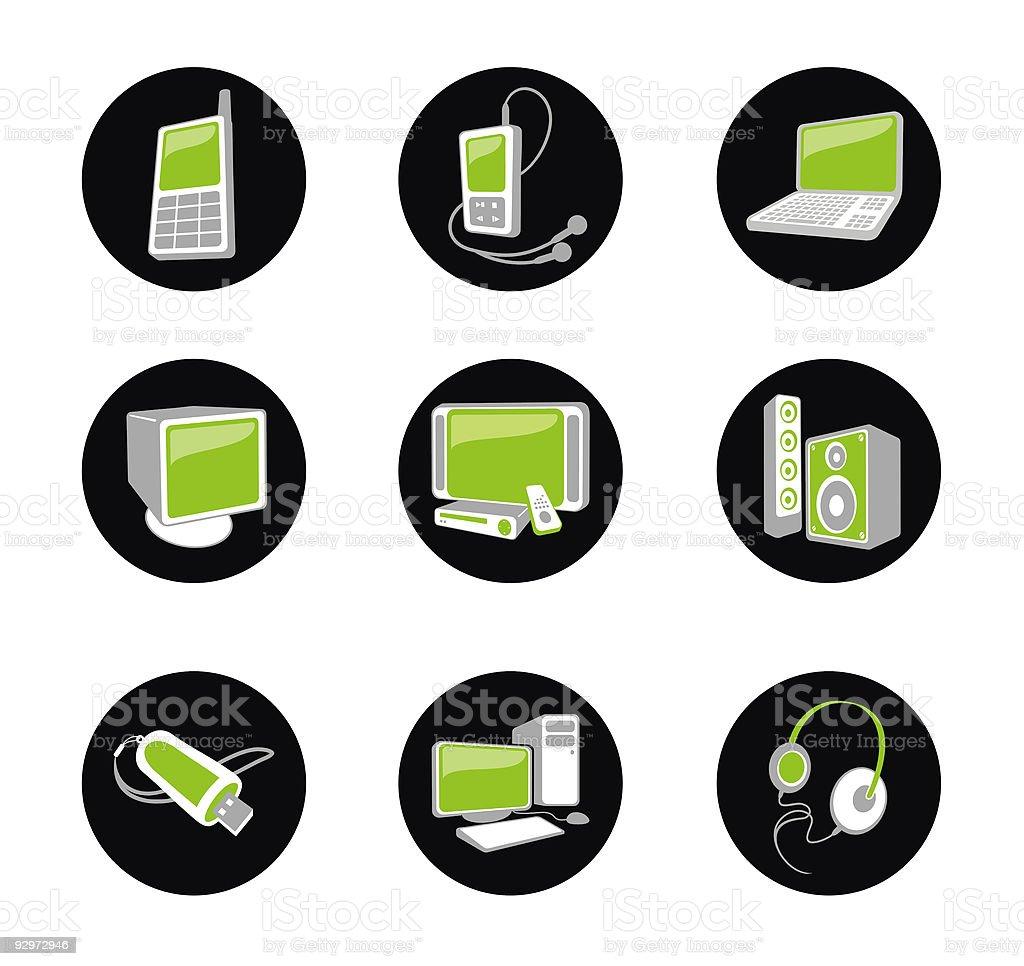 Green icon set. royalty-free stock vector art