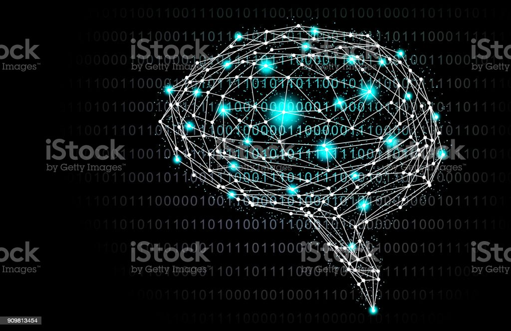 Green Intelligent Artificial brain mother computer. illustration background image. vector art illustration