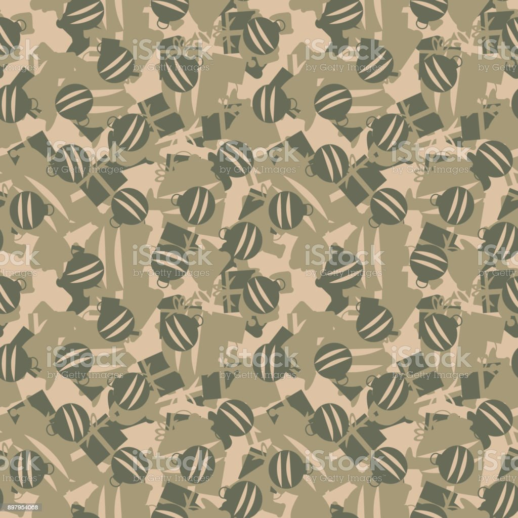 Green Khaki And Beige Seamless Pattern Christmas Camouflage With ...