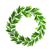 Green laurel wreath watercolor leaves copy space hand-drawn
