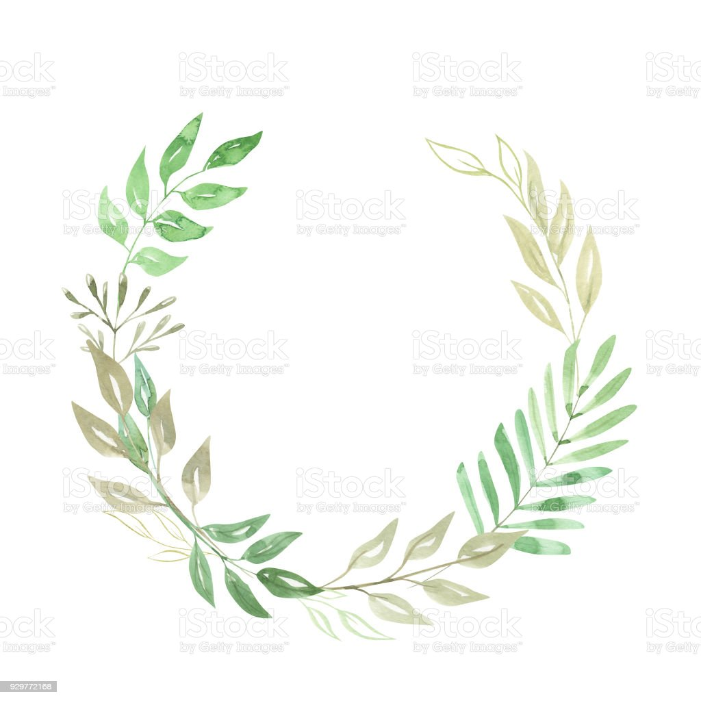 green leaf watercolor foliage arch leaves wreath nature garland