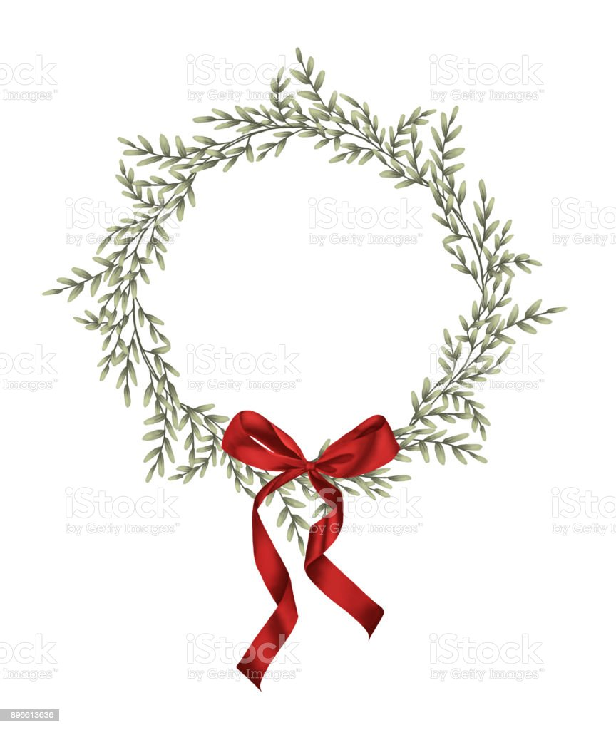 Green leaves wreath and red bow in vintage style with white...
