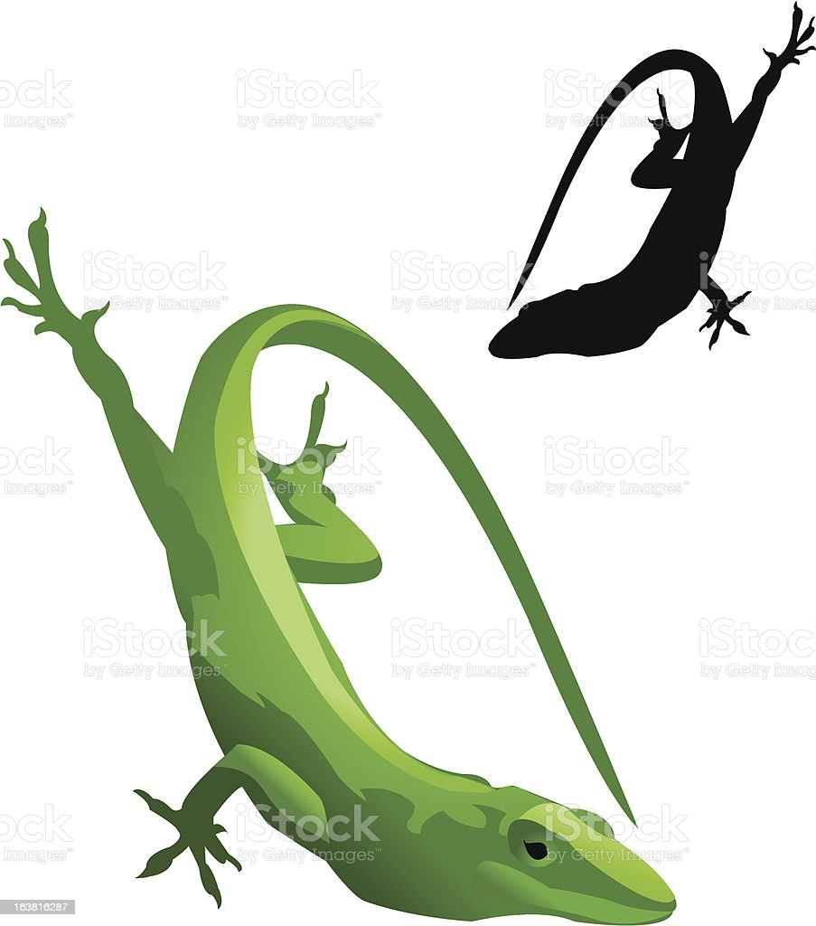 Green Lizard and Silhouette royalty-free stock vector art