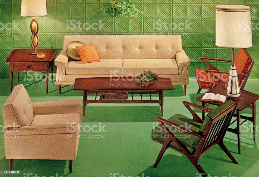 Green Mid-Century Living Room vector art illustration