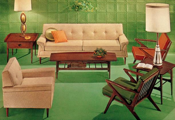 Green Mid-Century Living Room Green Mid-Century Living Room kitsch stock illustrations