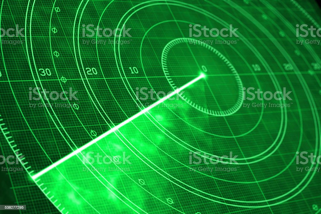 Green military radar screen close up vector art illustration