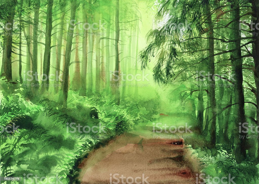 Green misty forest royalty-free green misty forest stock vector art & more images of art
