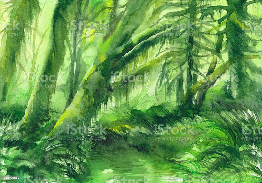 Green misty trees vector art illustration
