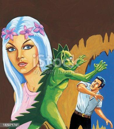 Green Monster Attacks Man; Island Girl Looks On