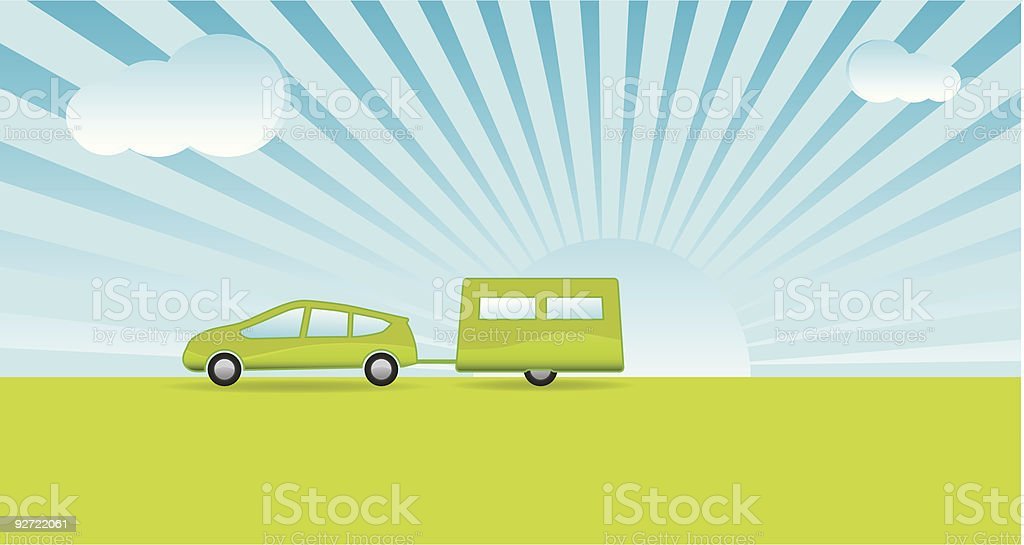 Green Motoring Holiday (Vacation) royalty-free stock vector art