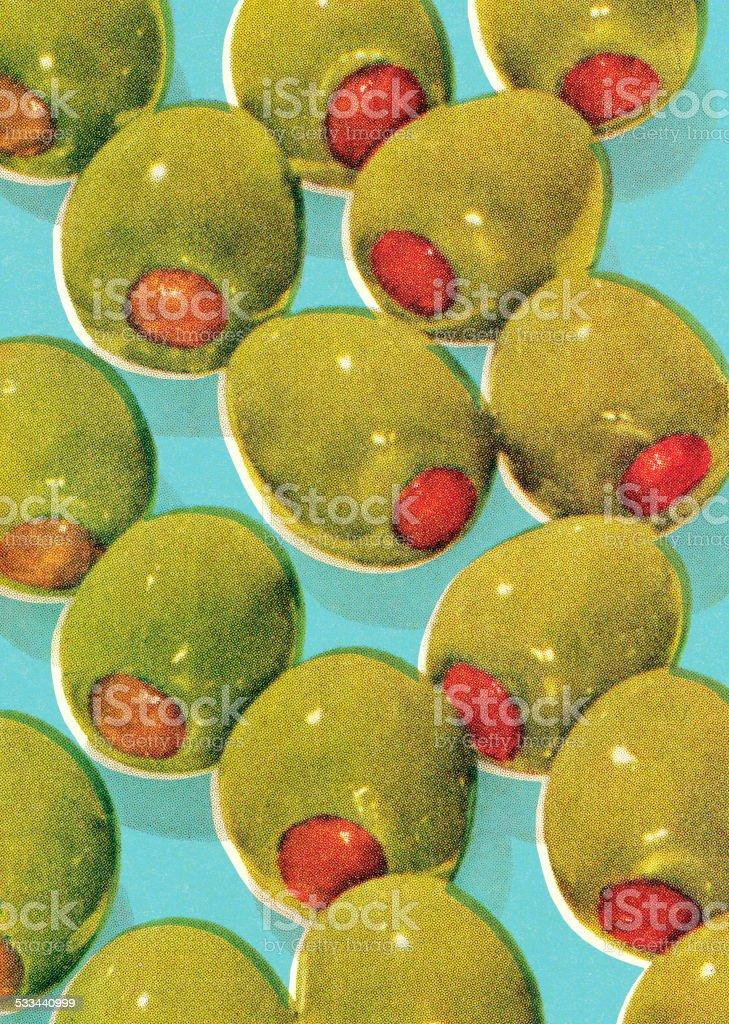 Green olives vector art illustration