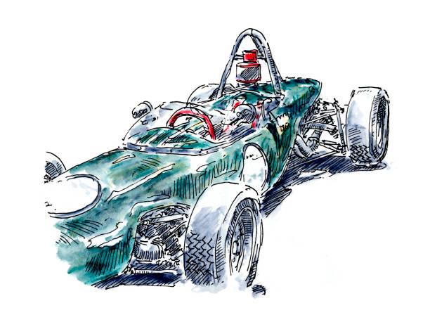 Green Open Wheel Classic Racecar Ink Drawing and Watercolor Green Open Wheel Classic Racecar. Fountain Pen Ink Drawing and Watercolor Pencils. Drawn on location. motor sport stock illustrations