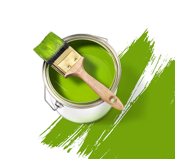 Green paint tin can with brush on top Green paint tin can with brush on top on a white background with green strokes paint can stock illustrations
