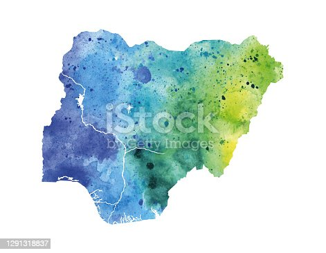 Green Painted Map of Nigeria Watercolor Raster Illustration