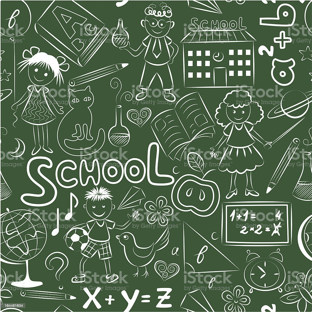 Green pattern with school theme royalty-free stock vector art