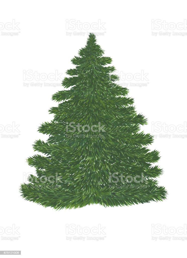 Yeşil çam Ağacı Noel Dekorasyonu Beyaz Arka Plan üzerinde Olmadan