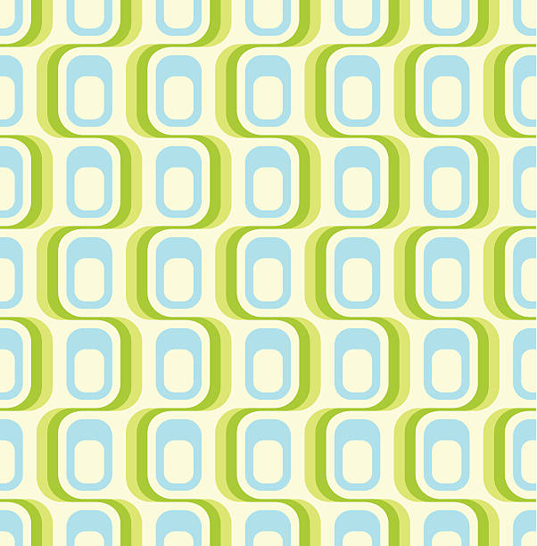 green retro seamless pattern - 1960s style stock illustrations, clip art, cartoons, & icons